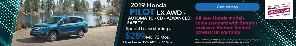 2019 Honda Pilot LX AWD - Automatic - CD - Advanced Safety