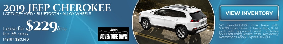 2019 Jeep Cherokee  Latitude+ AWD - Bluetooth - Alloy Wheels