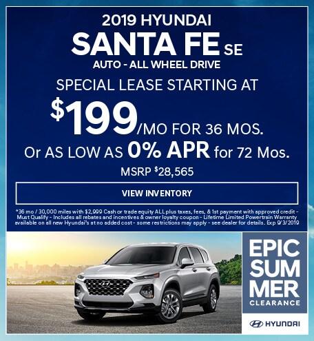 2019 Hyundai Santa Fe SE  Auto - ALL WHEEL DRIVE