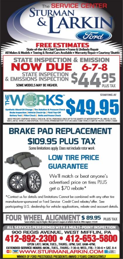 Service Coupons - Save $$$! | Sturman & Larkin Ford Inc