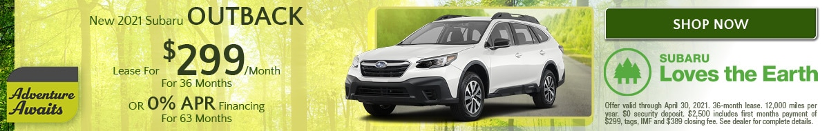 April New 2021 Subaru Outback Offer