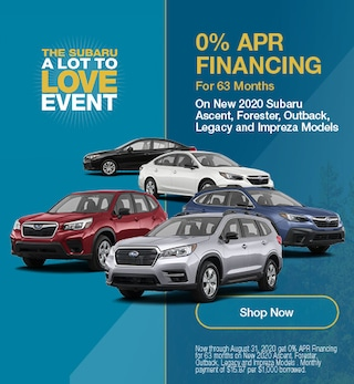 August - 0% APR Financing For 63 Months on Select New Subaru Models