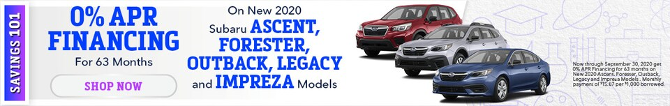 0% APR Financing for 63 Months On Select New Subaru Models