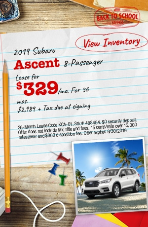 September 2019 Subaru Ascent 8-Passenger Lease Offers