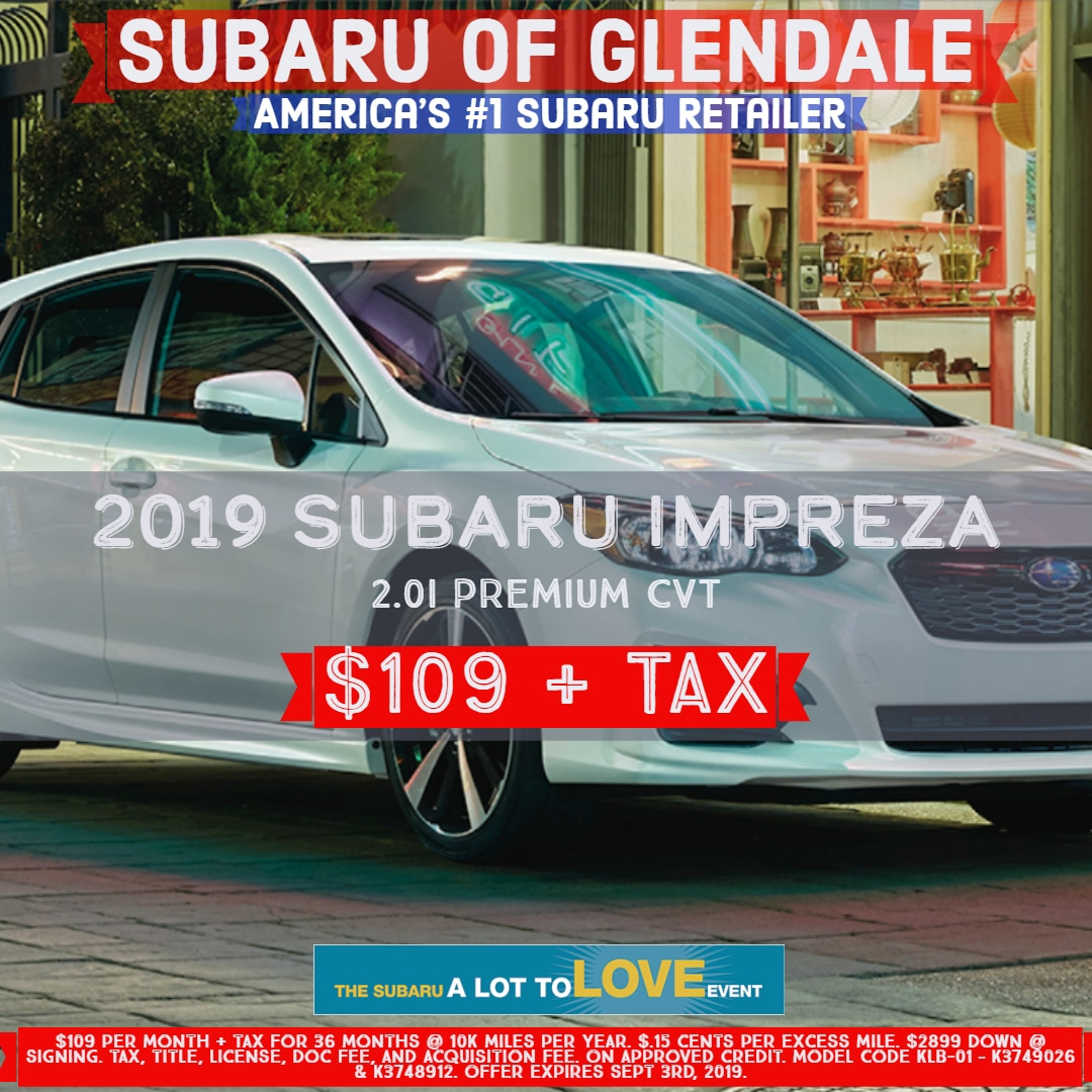 1 Year Car Lease >> New Subaru Car Lease Specials In Glendale Ca