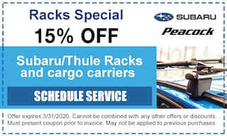 15% off Subaru/Thule Racks and cargo carriers