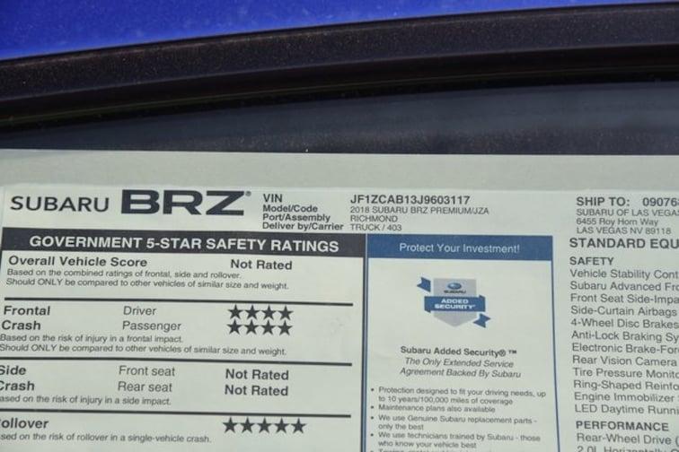 New 2018 Subaru Brz Premium For Sale In Las Vegas Nv