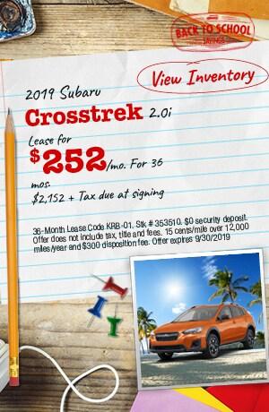 September 2019 Subaru Crosstrek 2.0i Lease Offer