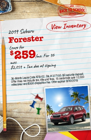 September 2019 Subaru Forester Lease Offers