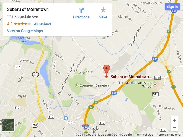 Morristown Subaru dealership directions