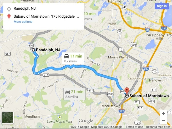Directions to Subaru of Morristown from Randolph NJ