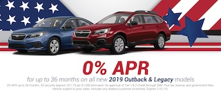 0% APR For Up to 36 Months on All New 2019 Outback & Legacy Models