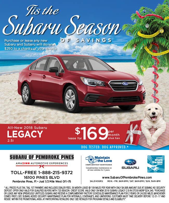 Subaru Of Pembroke Pines >> 2017 Subaru Legacy | Subaru Legacy Lease Special Broward County