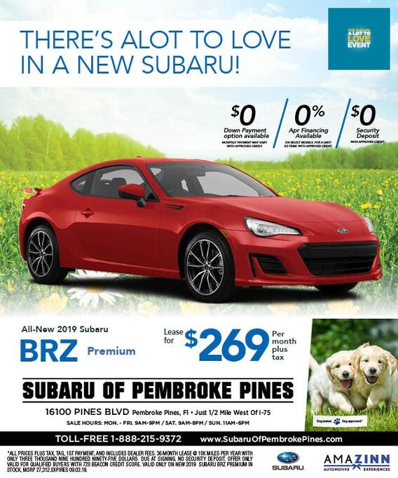 Subaru Of Pembroke Pines >> 2019 Subaru Brz Lease Specials Subaru Of Pembroke Pines