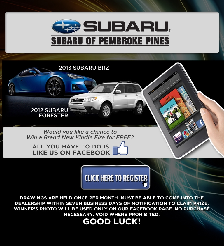 Win A Kindle Fire | Subaru of Pembroke Pines