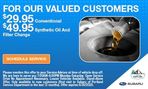 Valued Customer Oil Change Special