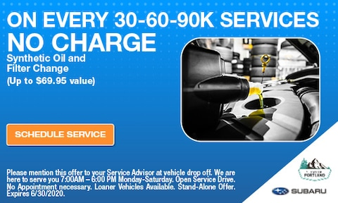 Free Oil Change With 30-60-90K Services
