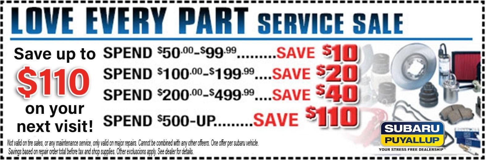subaru love every part service discount package | tacoma & auburn