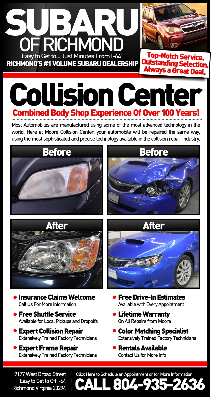 Car Body Repair Shops Near Me >> Collision Center At Richmond Subaru Auto Repair Available Near