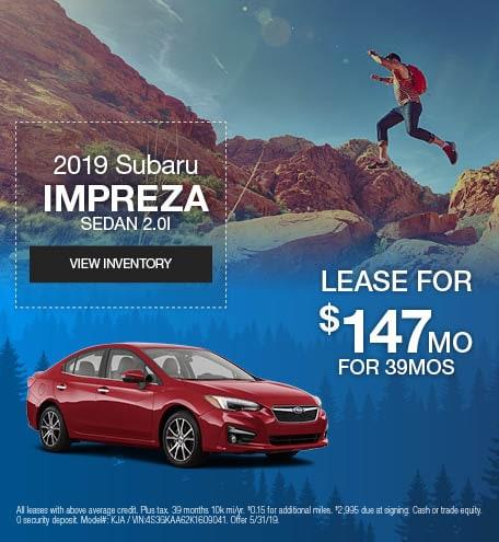 May 2019 Subaru Impreza Lease