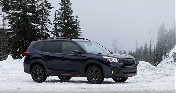 2019 SUbaru Forester in snowy Washington Weather