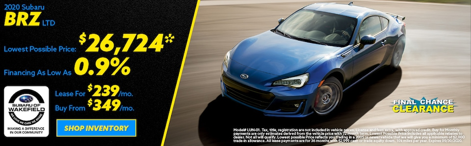 2020 Subaru BRZ September Offer