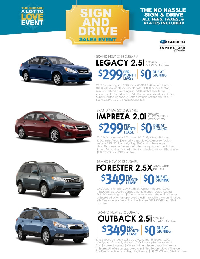 Subaru sign and drive lease