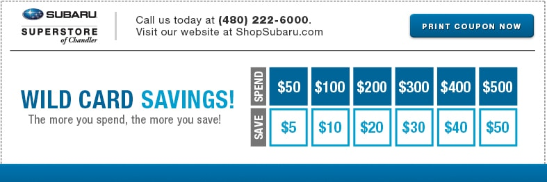 Save with this Wild Card Savings service special at Subaru Superstore