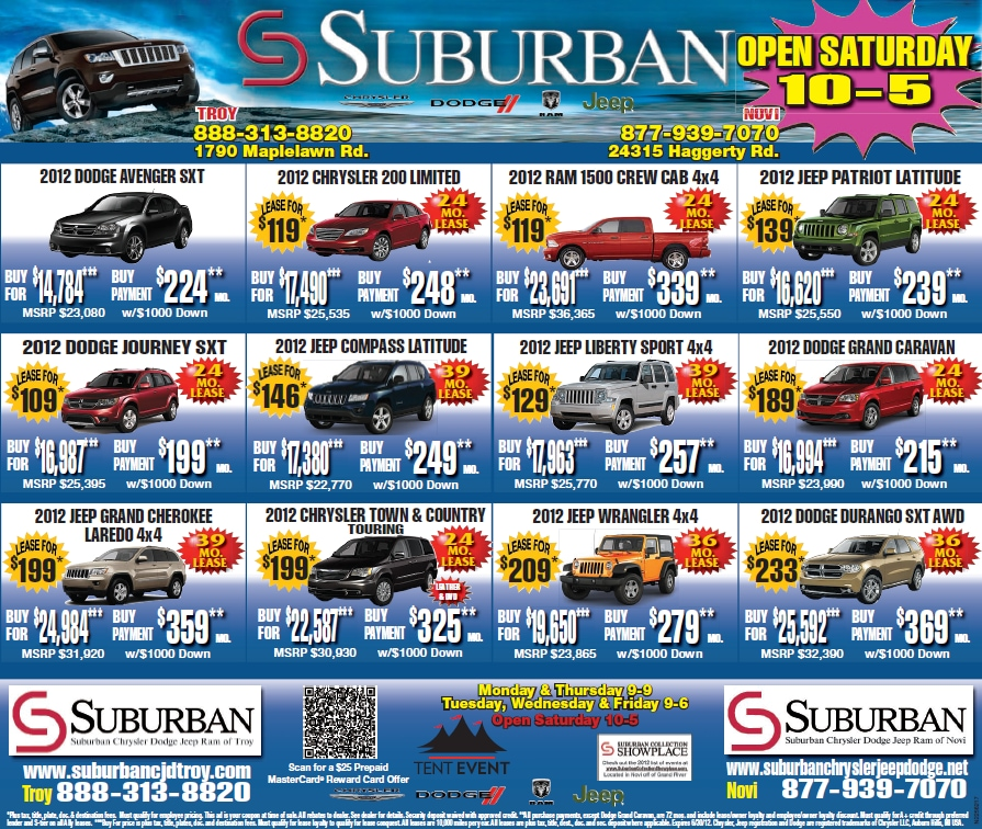 newspaper ad suburban chrysler jeep dodge  troy