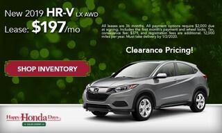 DEC - New 2019 HR-V LX AWD: $197/mo