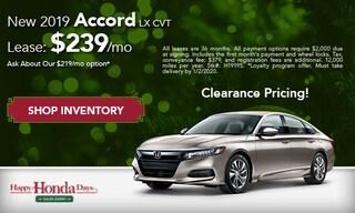 DEC - New 2019 Accord LX CVT: $239/mo
