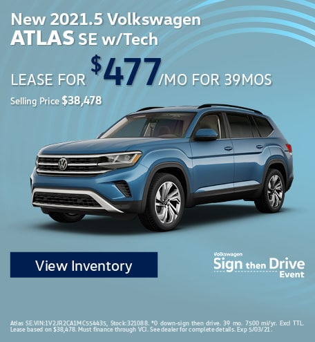 New 2021.5 Volkswagen Atlas SE w/Tech