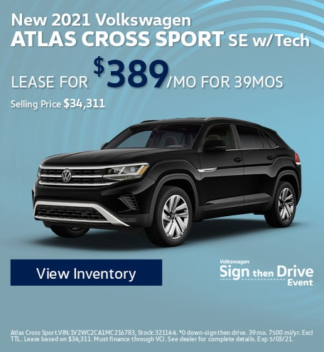 New 2021 Volkswagen Atlas Cross Sport SE w/Tech