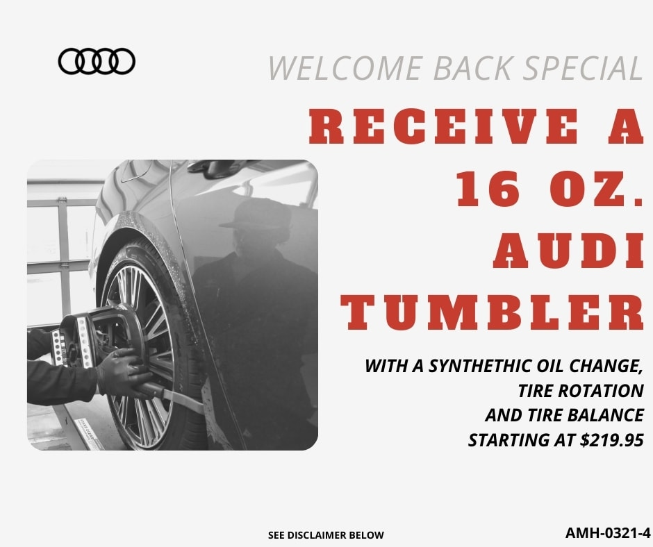 WELCOME BACK SPECIAL - free gift with synthetic oil change, tire rotation and balance