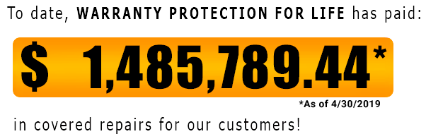 Warranty Protection For Life has saved customers $1,485,789.44 as of May 2019