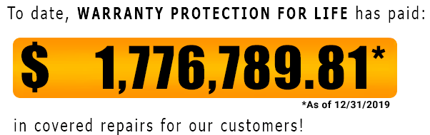 Warranty Protection For Life has paid out 1,776,789.81 in covered claims since 12-31-2019