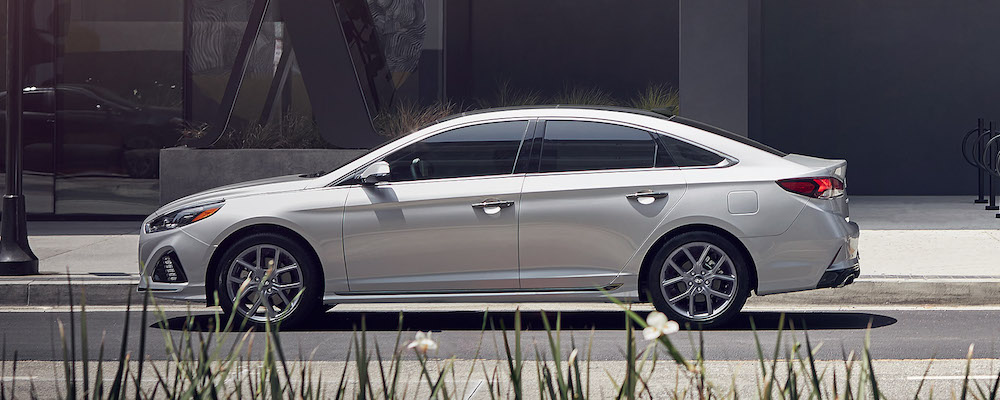 Silver 2019 Hyundai Sonata Parked in City