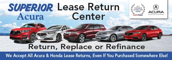 row of Acura cars returned off lease