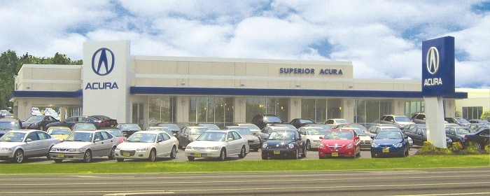 Car dealership with row of cars