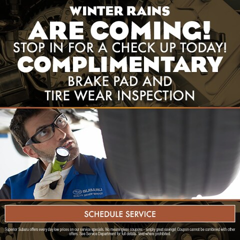 Complimentary Brake Pad and Tire Wear Inspection