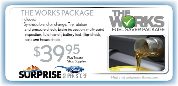 Ford The Works >> Ford Car Repair Maintenance Surprise Az Fuel Saver Offer