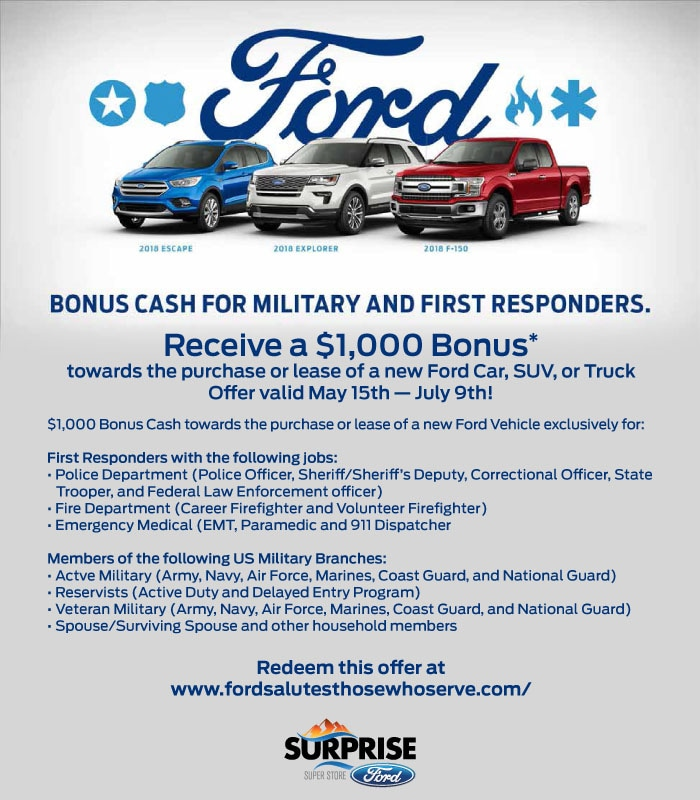 Bonus Cash For Military and First Responders | Surprise Ford