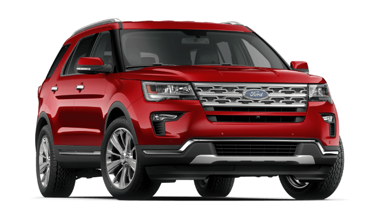 2019 Ford Explorer limited in ruby red color