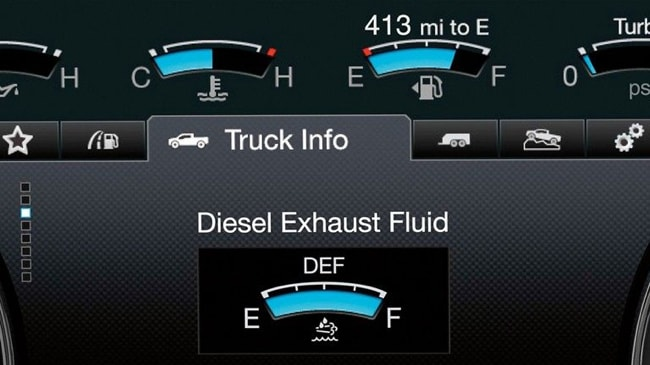 The 2019 Ford F-Series Chassis Cab provides real-time measurement of how much diesel exhaust fluid is stored
