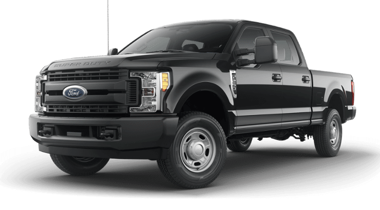 Black 2019 Ford F-250 4x4 on a transparent background