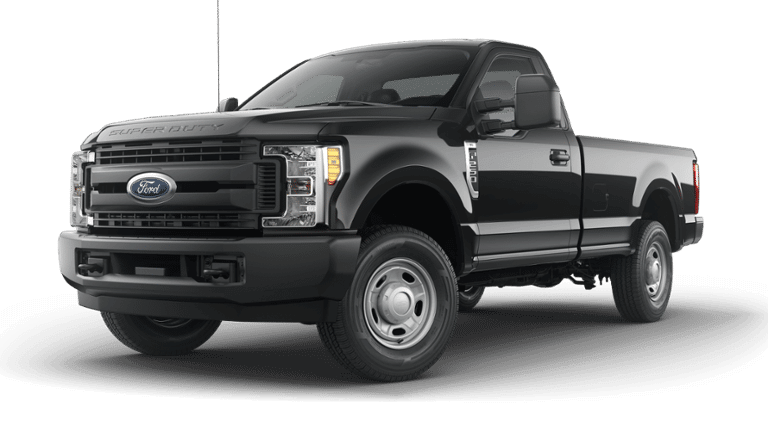 Black 2019 Ford F-250 4x2 on a transparent background