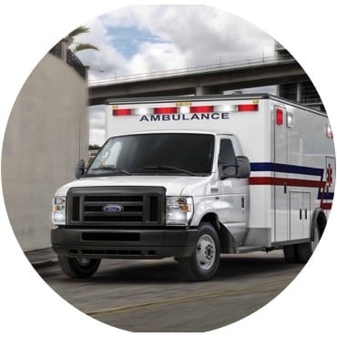 Dual rear wheel E series with ambulance uplift