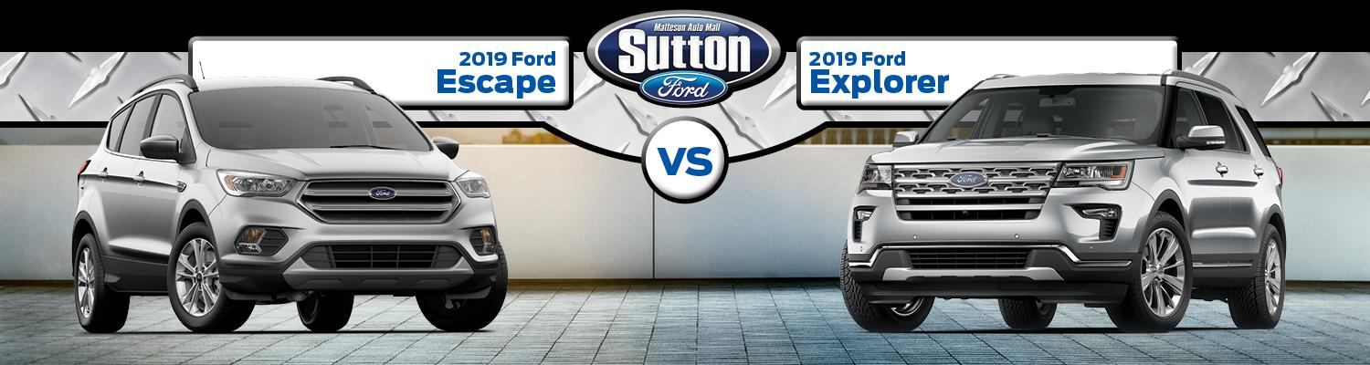 comparison between 2019 Ford Escape and 2019 Ford Explorer