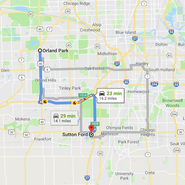 Directions to Sutton Ford From Orland Park