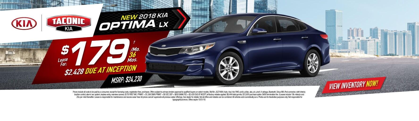 New 2018 Kia Optima LX Lease For: $179u2020/MO 36 MOS., MSRP: $24,230, $2,428  DUE AT INCEPT